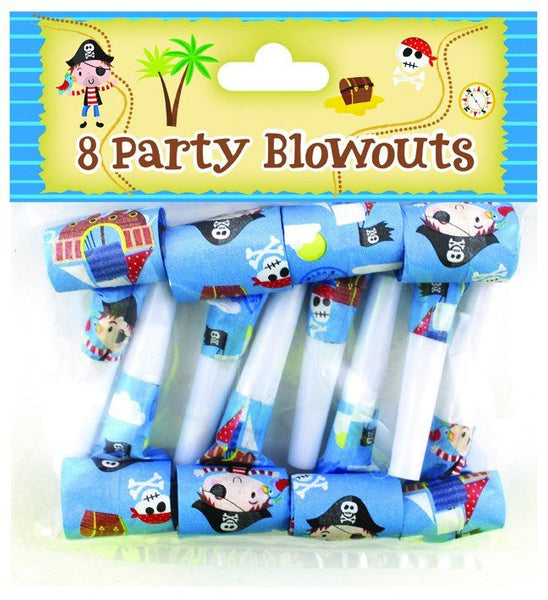 8 Pack Blue Pirate Party Whistles - Partyware - 8PK 12""