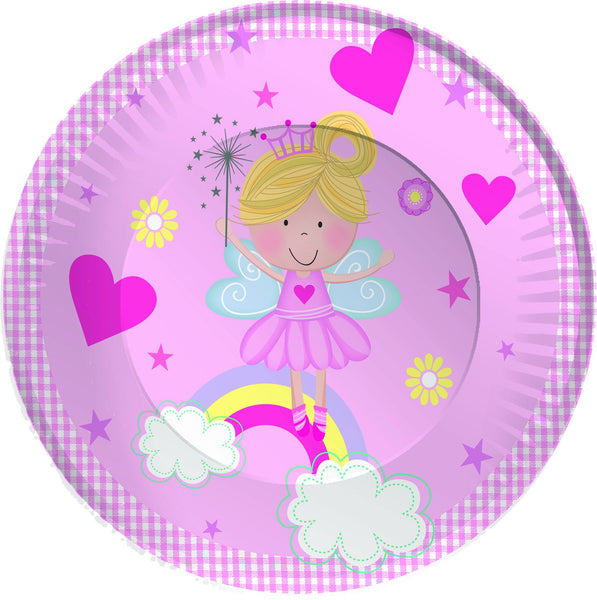 "8 Pack Pink Fairy & Rainbow Paper Plates - Partyware - 8PK 9"" ROUND"