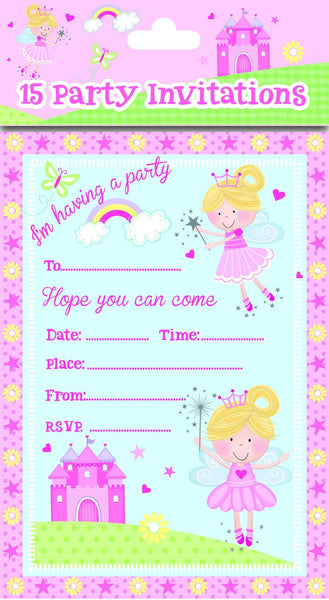 8 Pack Pink Fairy Party Invitations - Partyware - 8PK