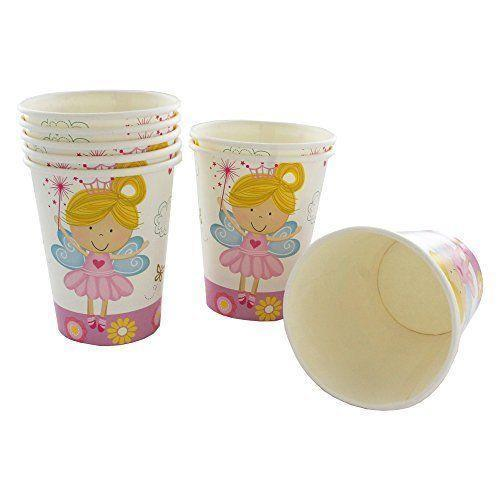8 Pack Pink & White Fairy Paper Cups - Partyware - 8PK 9OZ