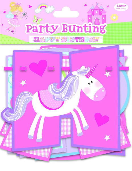 PINK FAIRY & UNICORN BIRTHDAY GARLAND - Partyware - Banner Bunting 210cm