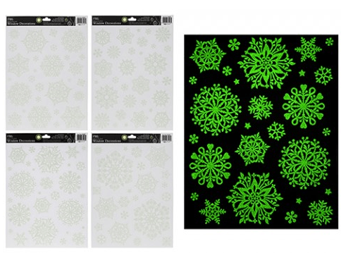 GLOW IN THE DARK SNOWFLAKE  WINDOW STICKERS