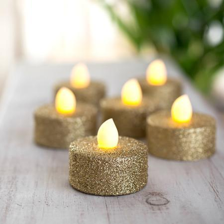 Tealight - Gold Glitter Battery Powered LED Tea Lights - 2Pk