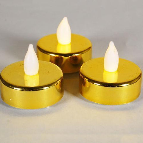 Tealight - Gold Metallic Battery Powered LED Tea Lights - 2Pk