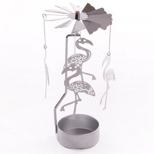 Metal Tealight Spinner - Flamingo Design
