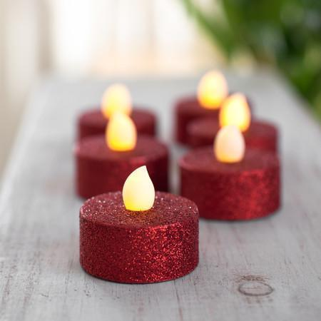 Red Glitter Battery Powered LED Tea Lights - 6Pk