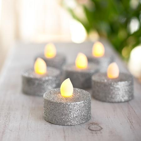 Tealight - Silver Glitter Battery Powered LED Tea Lights - 2Pk