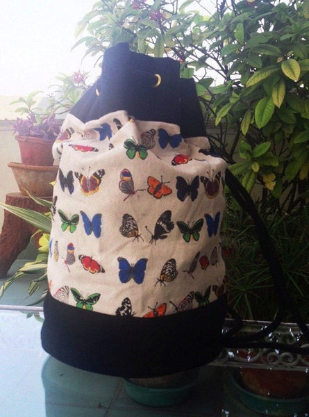 Large Canvas Duffle Bag -  Butterfly