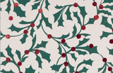 Glitter Rollwrap Paper Gift Wrap Roll - 2M - Winter Forest Holly with Red Berries on White