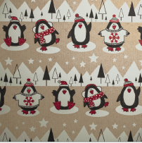 Glitter Kraft Paper Gift Wrap Roll - 2M - Lapland Penguins