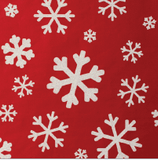 Glitter Rollwrap Paper Gift Wrap Roll - 2M - White Snowflake on Red