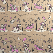 Printed Kraft Paper Gift Wrap Pack 1 Roll - 3M - Doodles Christmas Pink Unicorn