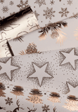 Glitter Rollwrap Paper Gift Wrap Roll - 2M - Golden Christmas Pine Cones on White
