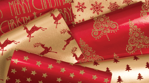 Glitter Rollwrap Paper Gift Wrap Roll - 2M - Ornate Brocade Gold Star on Red