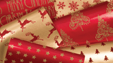 Glitter Rollwrap Paper Gift Wrap Roll - 2M - Red Brocade Reindeer on Gold