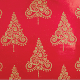 Glitter Rollwrap Paper Gift Wrap Roll - 2M - Ornate Brocade Gold Tree on Red