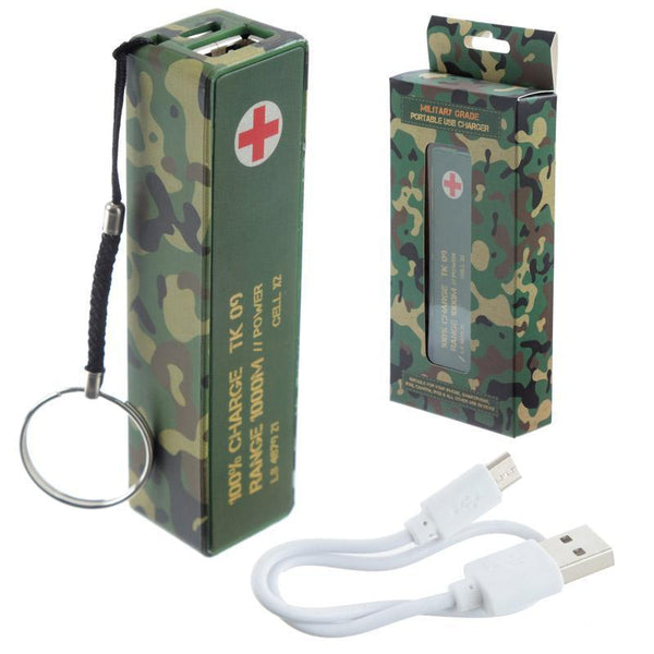 Camouflage Portable USB Charger Power Bank Key-ring