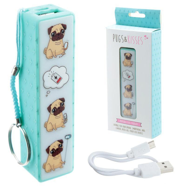 Pugs & Kisses Portable USB Charger Power Bank Key-ring