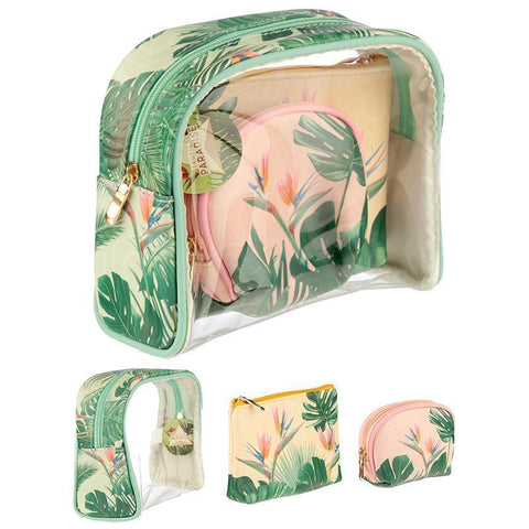 Wash Bag - Set Of 3 Handy Make Up Toilette Vanity Wash Bag Set - Tropical Paradise Cheese Plant