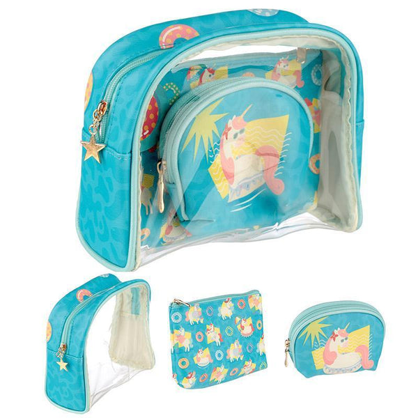 Set of 3 Handy Make Up Toilette Vanity Wash Bag Set - Tropical Unicorn