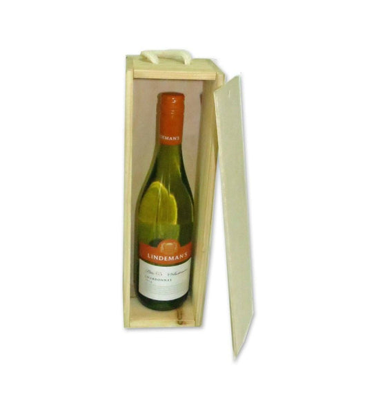 Wooden wine box to fit one bottle of wine, champagne or spirits