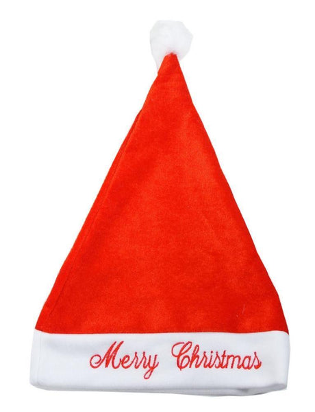 Plush Santa Hat with Embroidery - Deluxe Adult Size