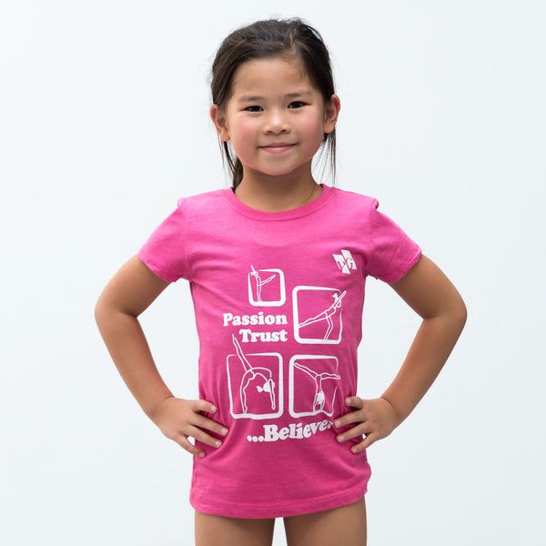 "Gymnastics Recreational Shirt - ""Passion, Trust, Believe"" (Girls)"