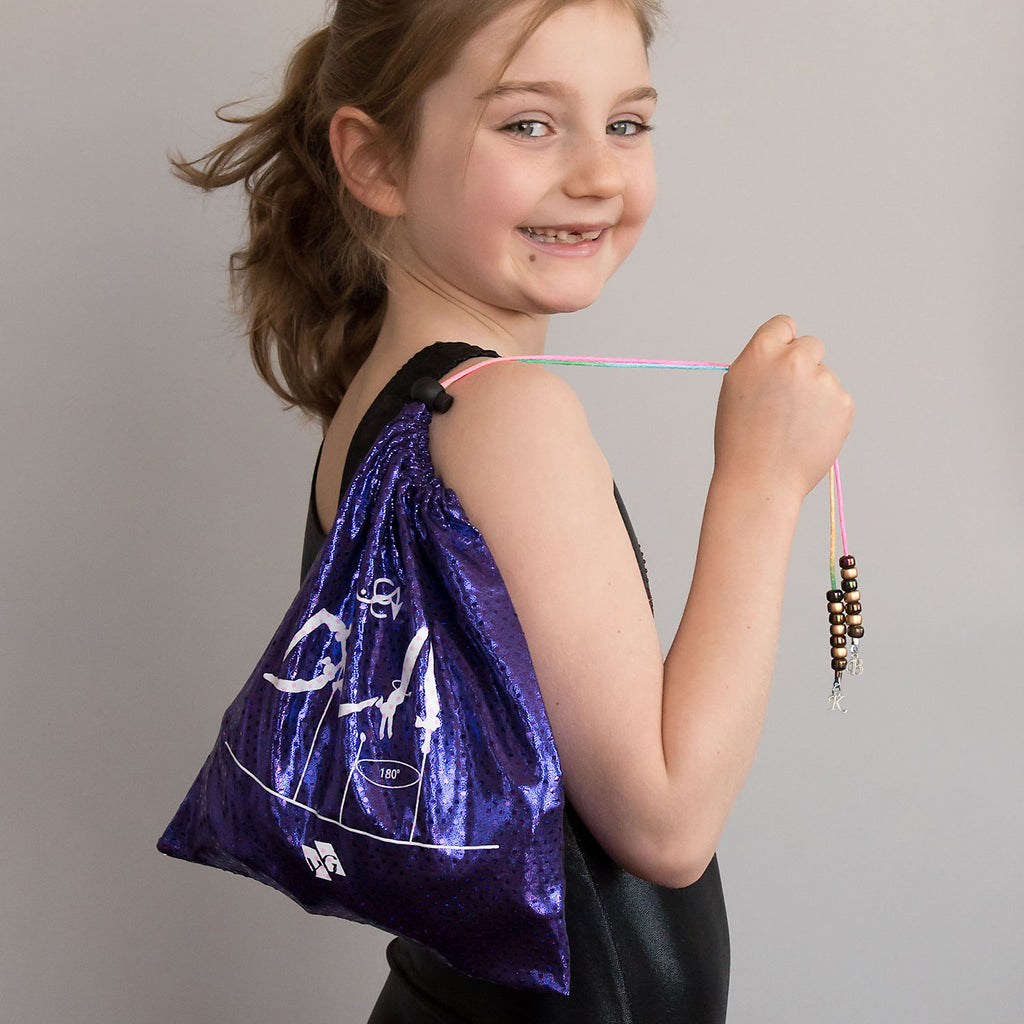 Gymnastics Grip Bag - Purple Metallic Dots (Bail to Handstand)