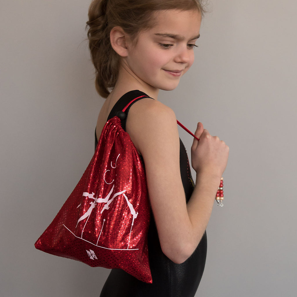 Gymnastics Grip Bag - Red Metallic Dots (Pak Salto)
