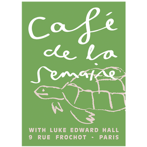Café de la Semaine Signed Artist Print, Green Tobias the Tortoise