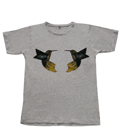 Humming Birds Speckled Grey Fair Trade T-shirt