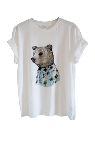 Bear White Organic Cotton T-shirt