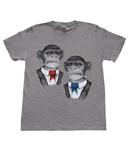 Chimps Grey Organic Cotton T-shirt