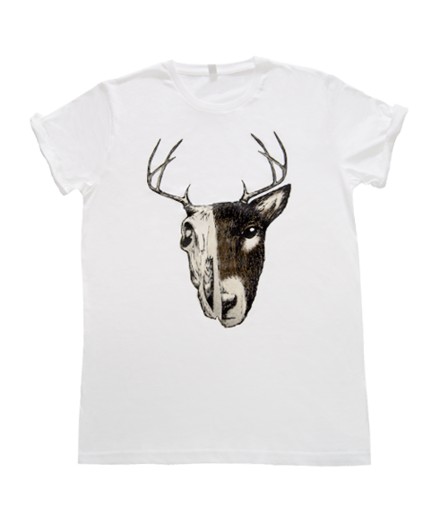 Deer Skull White Organic Cotton T-shirt