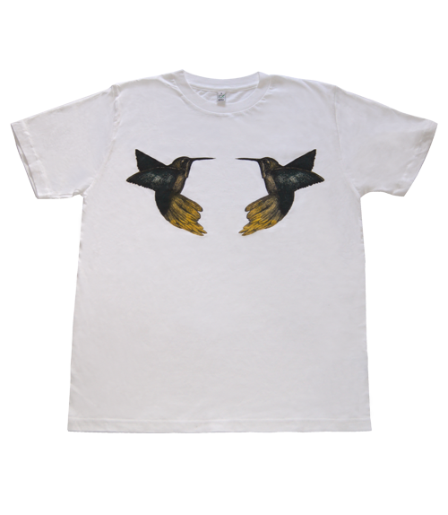 Humming Birds White Organic Cotton T-shirt