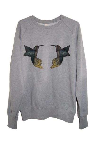 Humming Birds Grey Organic Cotton Sweatshirt