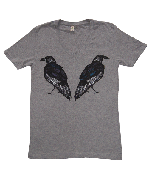 Ravens Grey Organic Cotton V-neck T-shirt