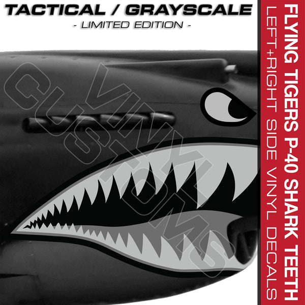 Flying Tigers Shark Mouth Vinyl Decal Stickers Tactical (Version 3)
