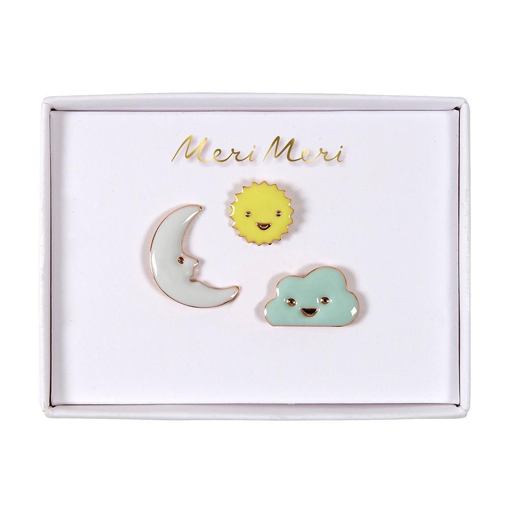 Set de pins - sol, nubes y luna - Miss Coppelia