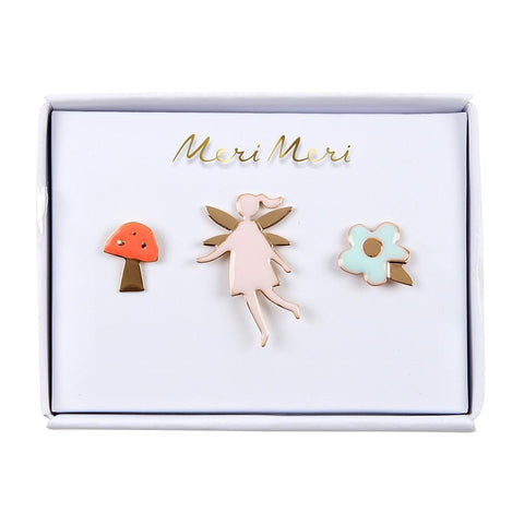 Set de pins fairy - hada, seta, flor