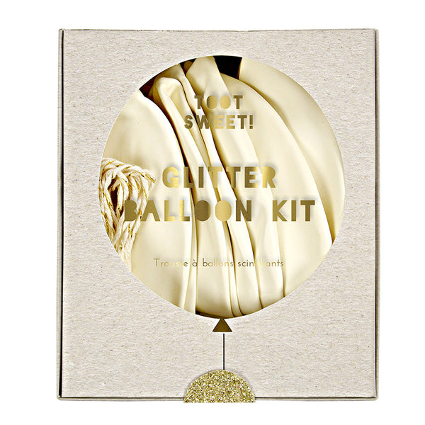 Kit para globos blanco y dorado - Miss Coppelia