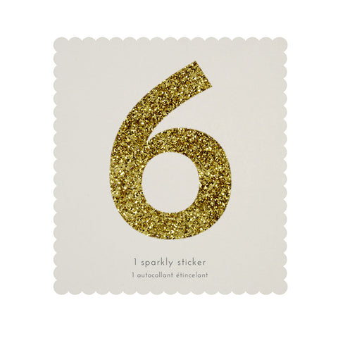 Sticker glitter oro número 6 - Miss Coppelia