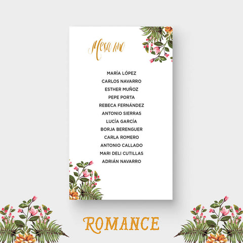 Seating Plan Romance