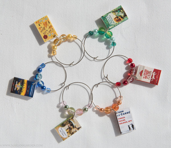 Book club themed wine glass charms - set of 6