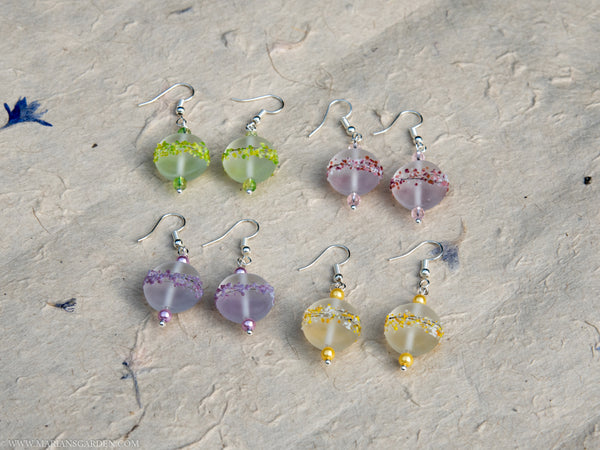 Glass lampwork earrings in four different colours