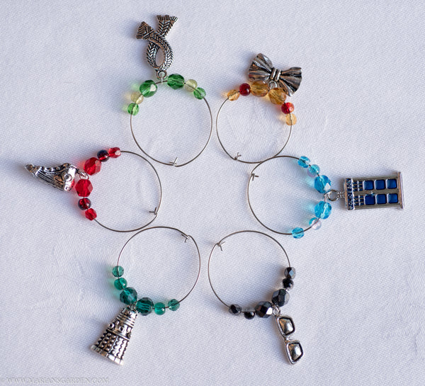 6 Dr Who themed wine charms for Whovians