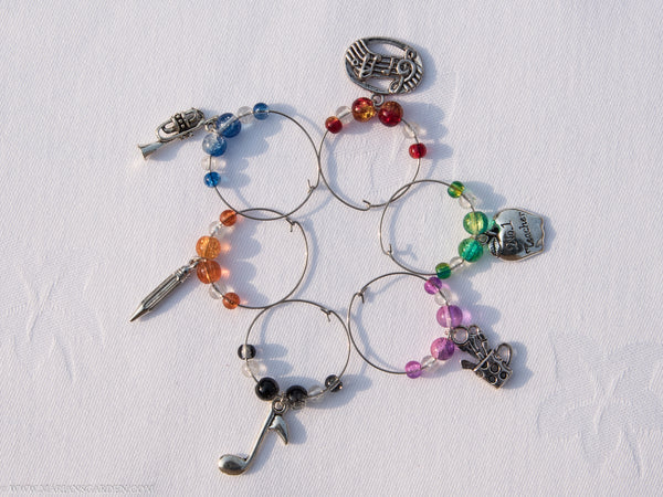 Music teaching themed wine glass charms