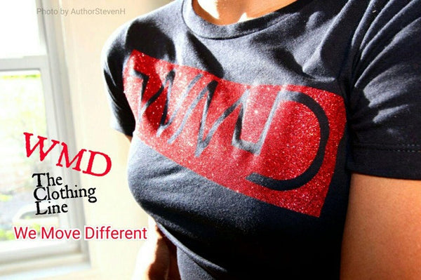 Women's black short sleeved shirt with red outline imprint-WMD