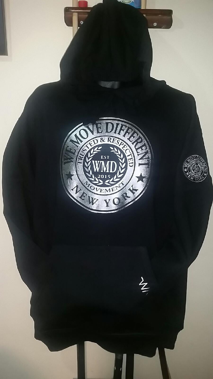WMD-Silver seal on Black Hoodie