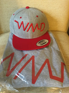 WMD-red on grey short sleeve shirt and hat set